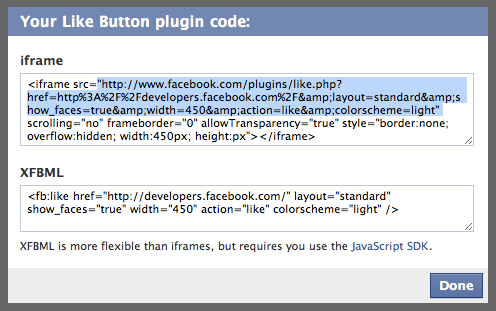 Screenshot from the Facebook code generator